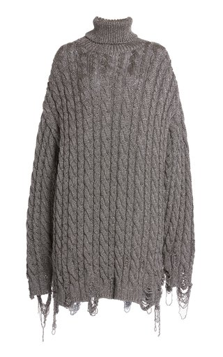 Distressed Cable Knit Turtleneck Sweater