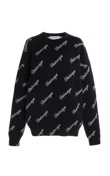 Script-Logo Intarsia Wool-Blend Sweater