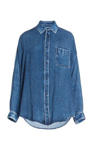 Distressed Denim Cocoon Shirt