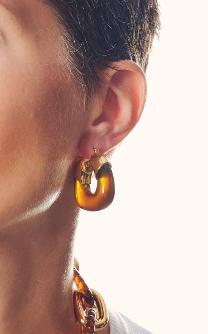 Organic Acrylic Gold-Plated Hoops