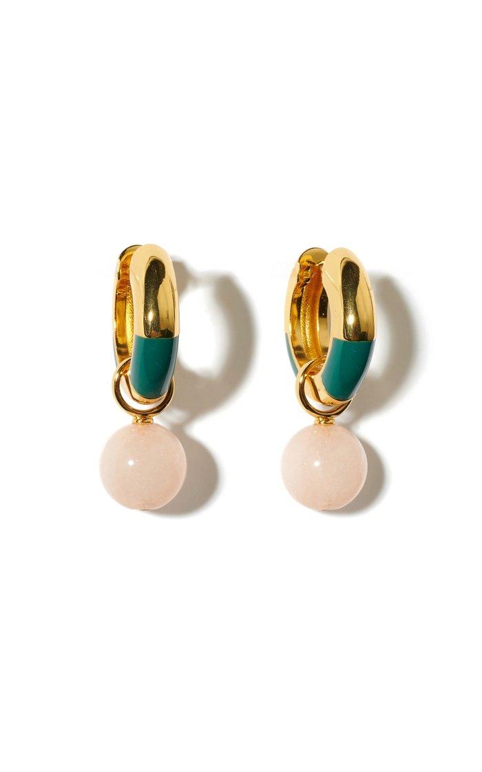Life Saver Jade Enameled Gold-Plated Earrings
