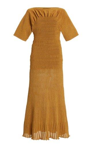 Smocked Knit Midi Dress