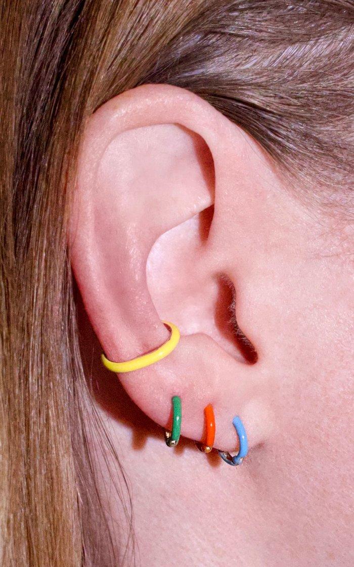 Unicorn Rainbow Enamel Sterling Silver Ear Cuff