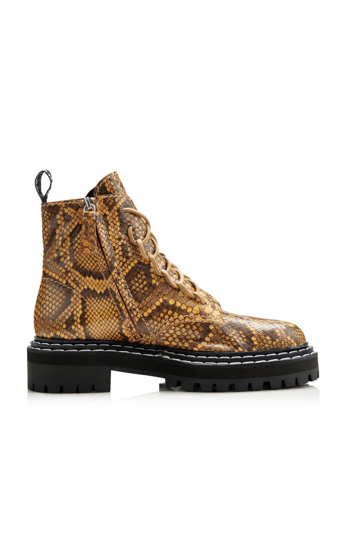 Snake-Effect Leather Combat Boots