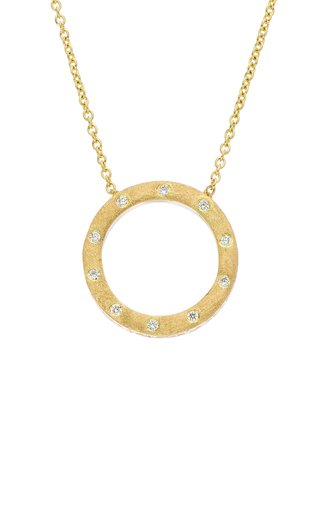 Dunes Small 18k Yellow-Gold and Diamond Circle Necklace