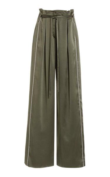 Arlet Pleated Silk-Charmeuse Wide-Leg Pants