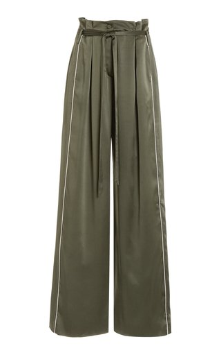 Arlet Pleated Silk-Charmeuse Wide-Leg Pants