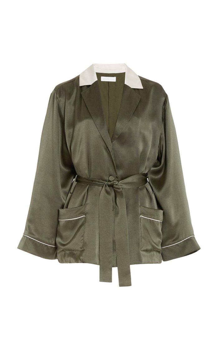 Seline Belted Silk-Charmeuse Robe Jacket