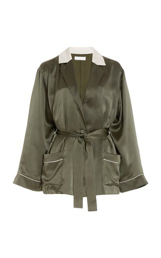 Seline Belted Silk-Charmeuse Robe Jacket