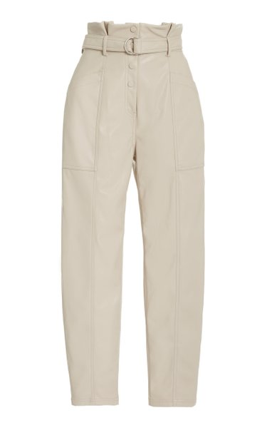 Leela Faux-Leather Paperbag-Waist Trousers