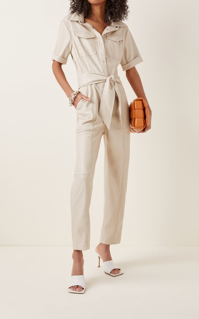 Maddy Belted Faux-Leather Jumpsuit