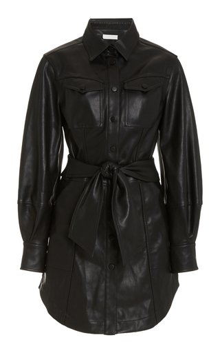 Eve Belted Faux-Leather Shirt Dress