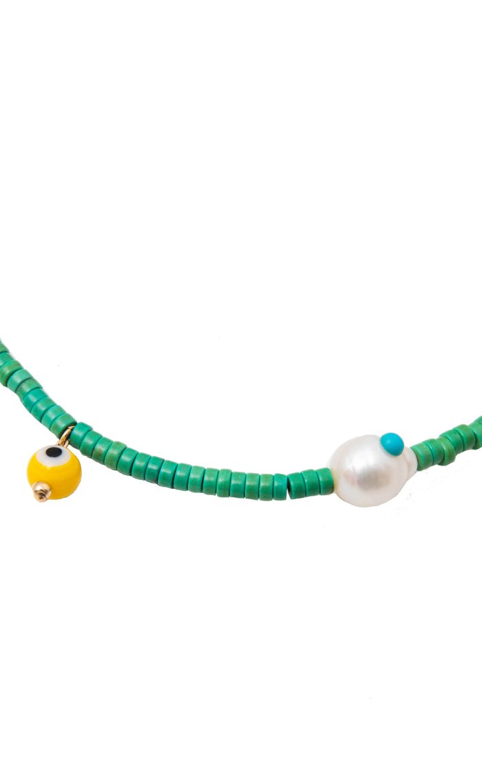 Corinth Pearl and Nazar Beaded Necklace