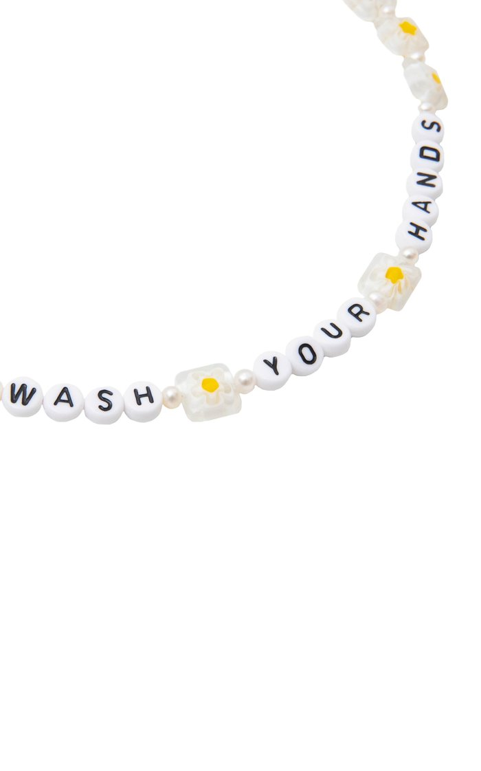 """""""Wash Your Hands"""" Pearl Beaded Necklace"""