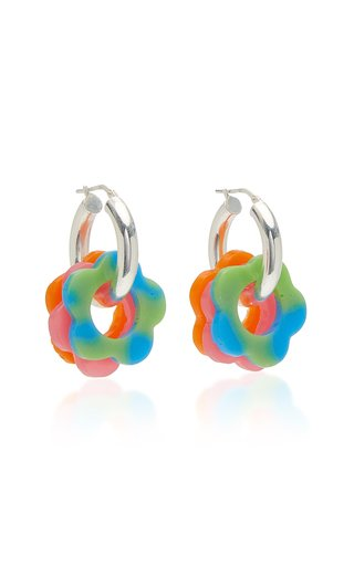 Acrylic Daisy and Sterling Silver Hoop Earrings