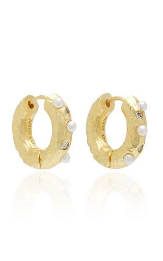 Gem in a Hoop Pearl and Crystal 18K Gold-Plated Earrings