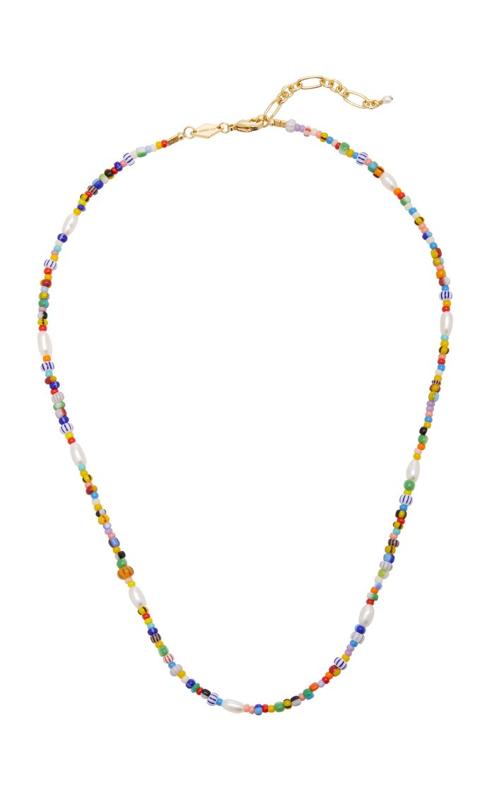 Petit Alaia Beaded 18K Gold-Plated Necklace