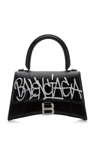 Hourglass S Graffiti-Print Leather Bag