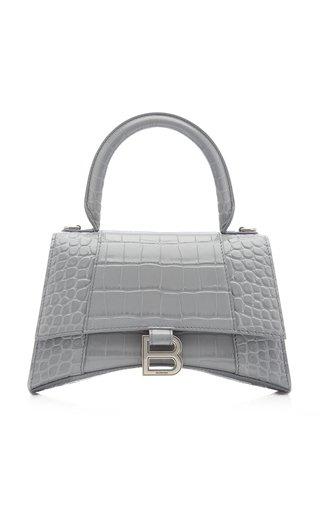 Hourglass M Croc-Effect Leather Bag
