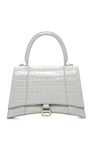 Hourglass M Croc-Effect Leather Bag