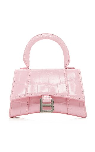Hourglass Mini Croc-Effect Leather Bag