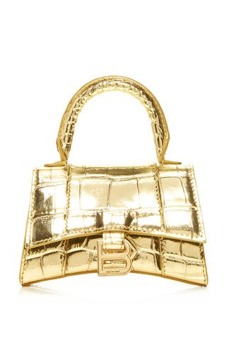 Hourglass Mini Metallic Croc-Effect Leather Bag