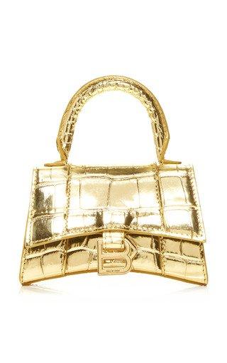 Hourglass Mini Metallic Croc-Effect Leather Bag