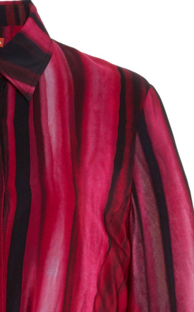 Judina Striped Silk Midi Shirt Dress