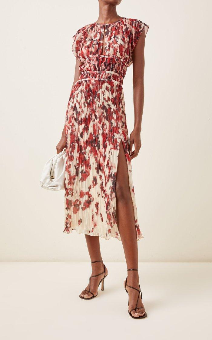 Angi Printed Plissé Midi Dress