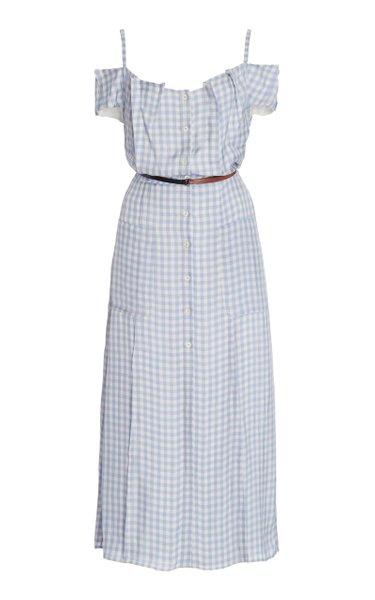 Nicole Off-The-Shoulder Gingham Crepe Midi Dress