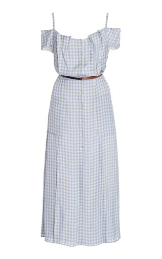 Nicole Off-The-Shoulder Gingham Crepe Midi Dress