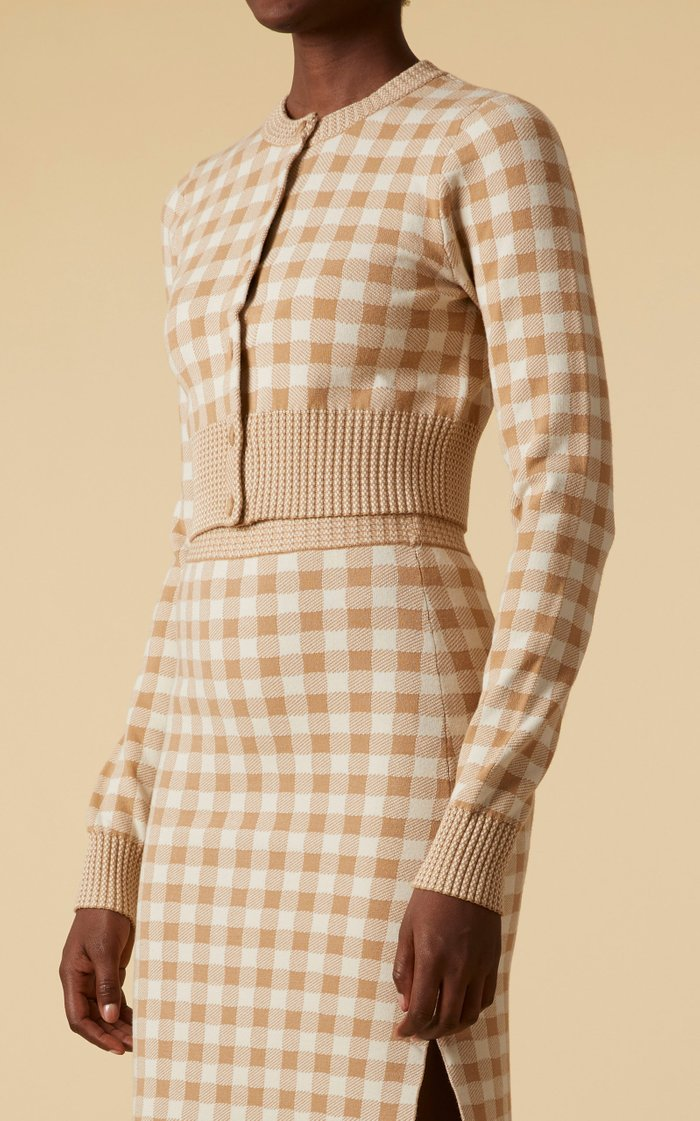 Latania Gingham Knit Cropped Cardigan