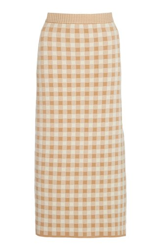 Billie Gingham Knit Midi Skirt
