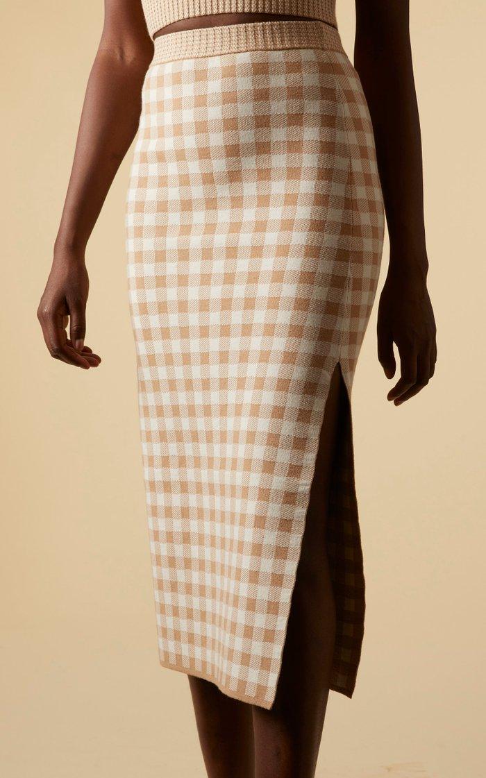 Billie Gingham Knit Midi Skirt
