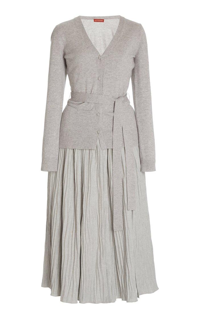 Manuel Pleated Knit Midi Dress