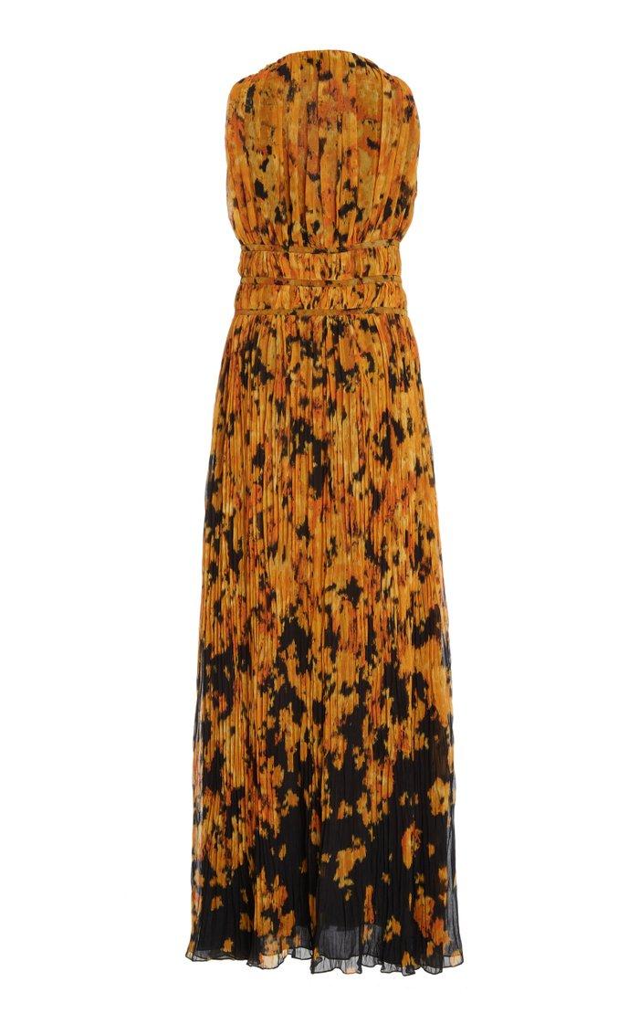 Layla Printed Plissé Maxi Dress