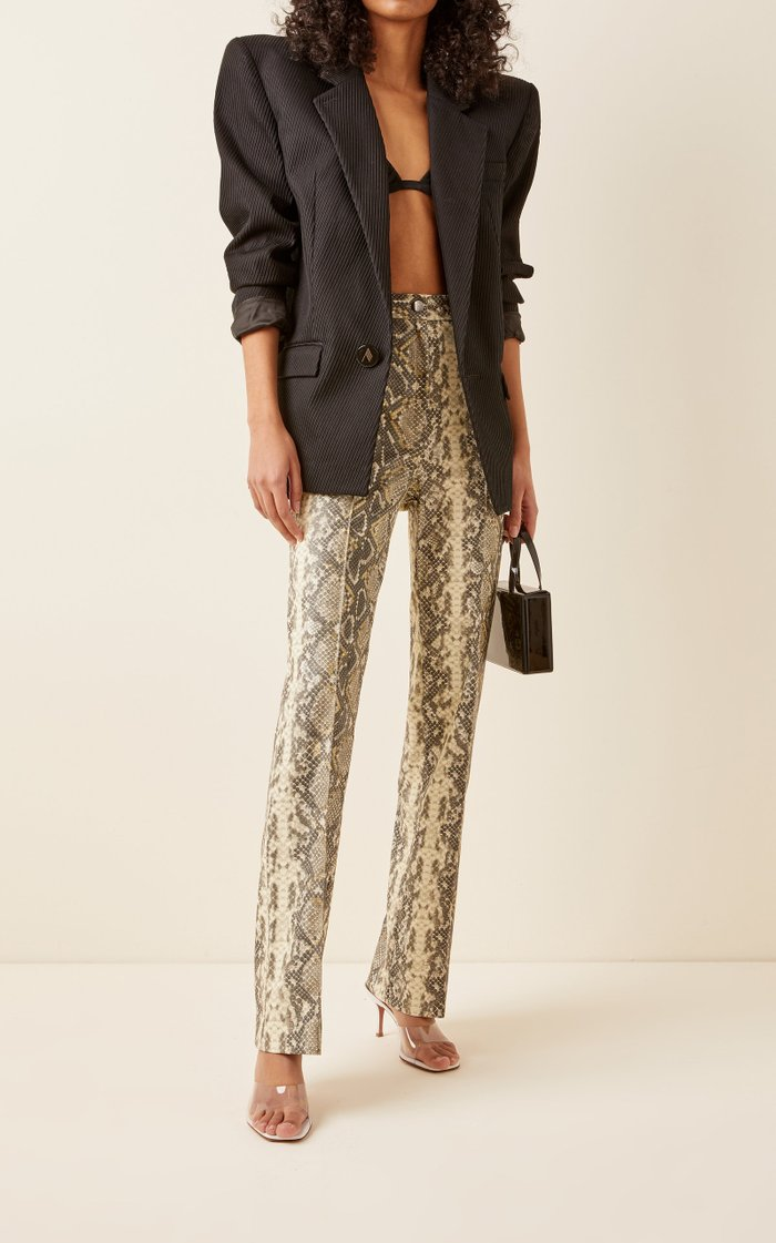 Robyn Snake-Effect Straight-Leg Trousers