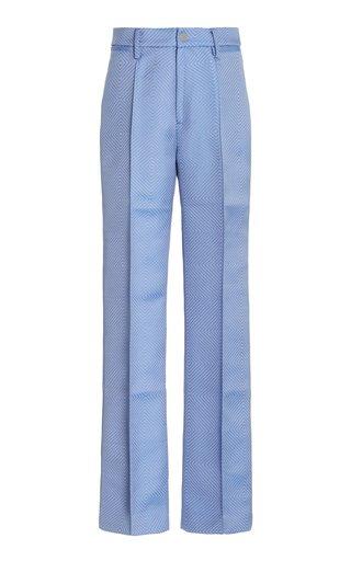 Robyn Jacquard-Woven Straight-Leg Trousers