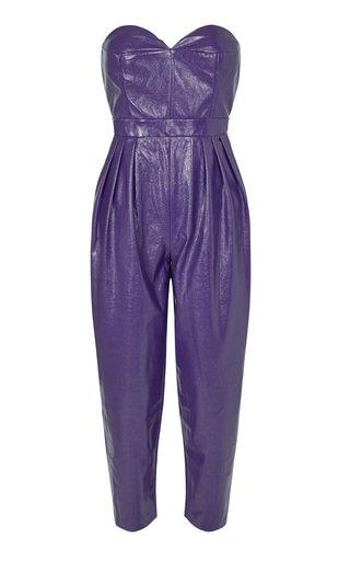 Lana Faux Leather Strapless Jumpsuit