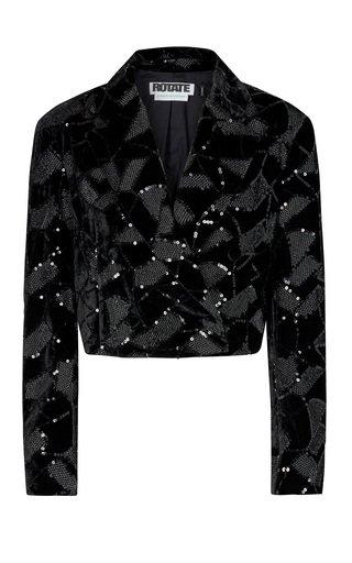 Caroline Sequined Velvet-Jacquard Cropped Blazer