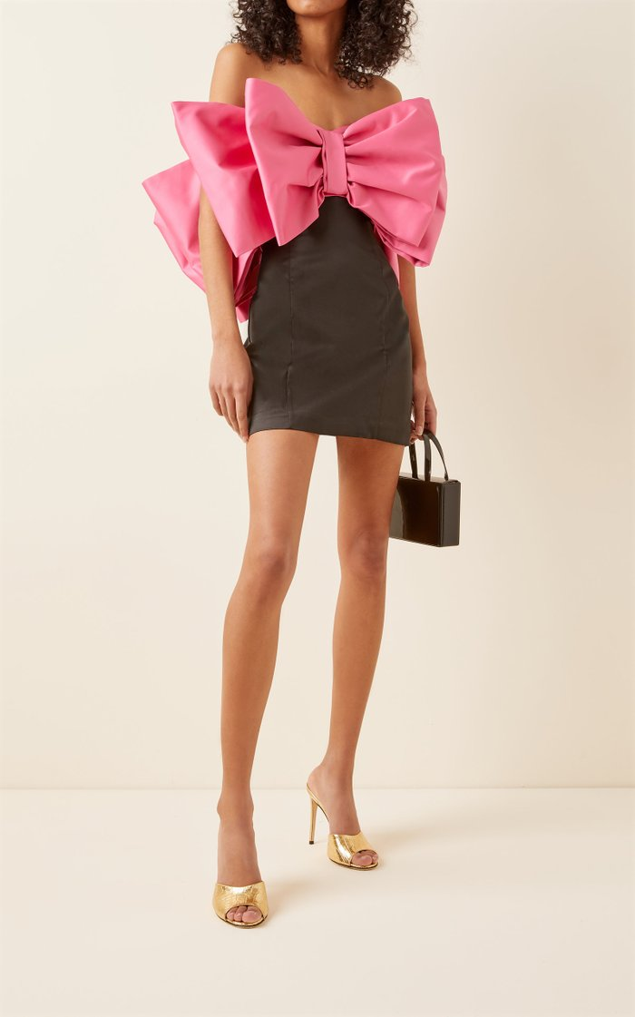 Natalie Bow-Detailed Satin Strapless Mini Dress
