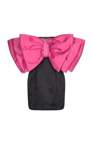 Natalie Bow-Detailed Satin Strapless Mini Dress