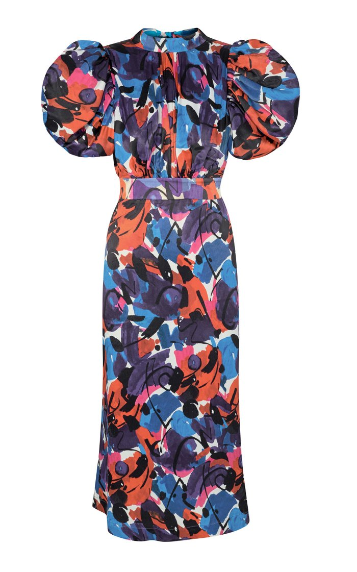 Dawn Puff-Sleeve Printed Crepe De Chine Midi Dress