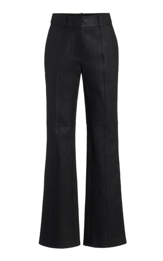 Mid-Rise Flared-Leg Leather Pants
