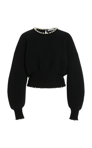 Pearl-Embellished Wool-Blend Sweater