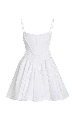 Corseted Fit & Flare Cotton Mini Dress