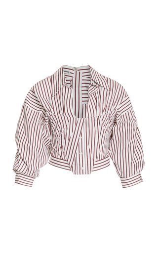 Striped Cotton Cropped Bustier Shirt