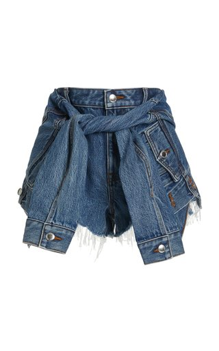 Tie-Sleeve Denim Skort