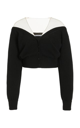 Sheer-Paneled Knit Cropped Cardigan