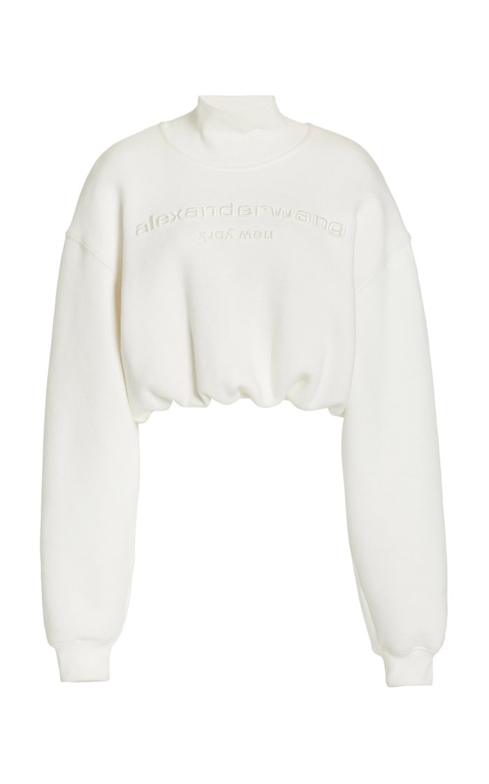 Logo Embroidered Cotton Cropped Sweater